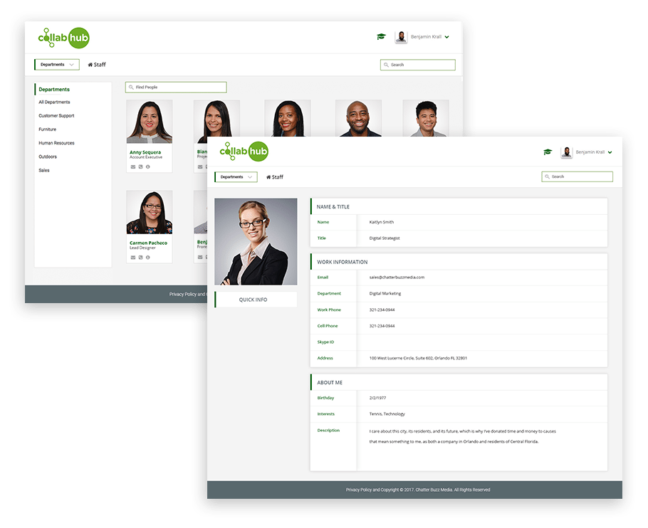 Staff Pages for Collab Hub Intranet