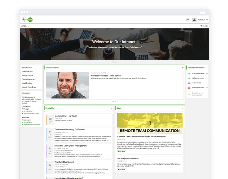 Collab Hub Intranet Interface